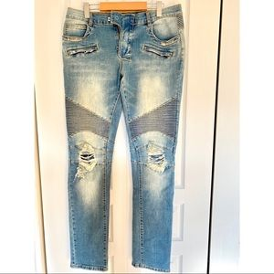 ✨HOST PICK✨ Distressed Moto Balmain Jeans👖💙